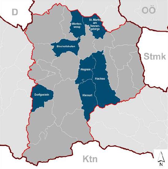 Lage der KLAR! Gemeinden - Terra Cognita